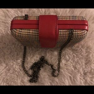 Straw Clutch with Stitches and Chain